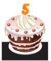 Verjaardags taart kaarsjes 5 jaar