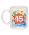 45e verjaardag cadeau beker / mok 300 ml